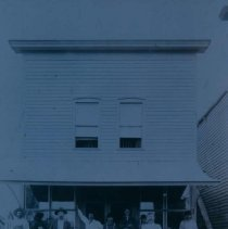 Image of People outside the Nick Pott Saloon in Hartford, SD, ca. 1900