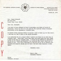 Image of Letter, Paul A. Boe to Donna Bolstorff, March 26, 1973, p. 1