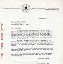 Image of Letter - Letter, Dr. Paul A. Boe to Mrs. Lillian Brayton, February 4, 1974