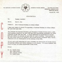 Image of Memorandum, Paul A. Boe to Eugene Crawford, March 30, 1973, p. 1