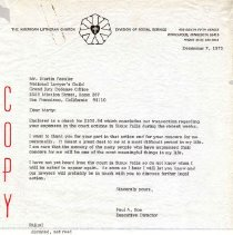 Image of Letter - Letter, Dr. Paul A. Boe to Mr. Martin Fassler, December 7, 1973