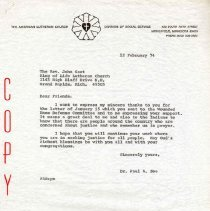 Image of Letter - Letter, Dr. Paul A. Boe to Rev. John Gast, February 12, 1974