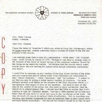 Image of Letter - Letter, Dr. Paul A. Boe to Mrs. Elmer Hanson, December 26, 1973