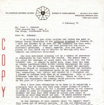 Image of Letter - Letter, Dr. Paul A. Boe to Mr. Paul R. Johnson, February 4, 1974