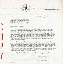 Image of Letter, Paul A. Boe to Solomon M. Kaplan, January 29, 1974, p. 1