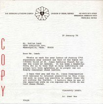 Image of Letter, Paul A. Boe to Neilan Lund, January 29, 1974, p. 1