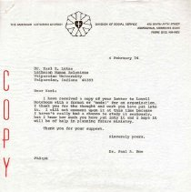 Image of Letter, Paul A. Boe to Karl E. Lutze, February 4, 1974, p. 1