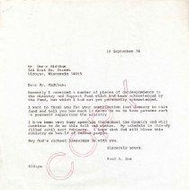 Image of Letter, Paul A. Boe to Oscar Midthun, September 18, 1974, p. 1
