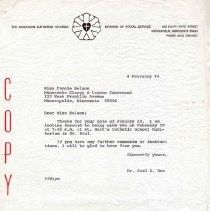 Image of Letter, Paul A. Boe to Carole Nelson, February 4, 1974, p. 1