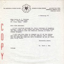 Image of Letter, Paul A. Boe to Marie M. V. Pearson, February 4, 1974, p. 1