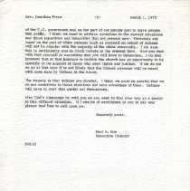 Image of Letter, Paul A. Boe to Jonathan Preus, March 1, 1973, p. 2