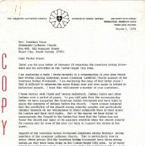 Image of Letter - Letter, Dr. Paul A. Boe to Rev. Jonathan Preus, March 1, 1973