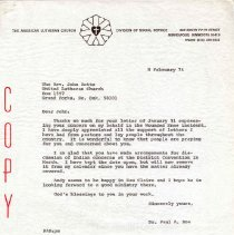 Image of Letter - Letter, Dr. Paul A. Boe to Rev. John Rotto, February 8, 1974