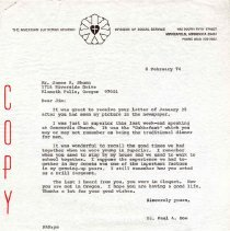 Image of Letter, Paul A. Boe to James R. Shunn, February 8, 1974, p. 1