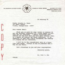 Image of Letter - Letter, Dr. Paul A. Boe to Pastor Maurice M. Smeal, February 16, 1974