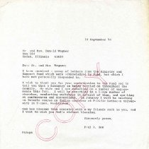 Image of Letter, Paul A. Boe to Mr. and Mrs. Donald Wagner, September 18, 1974, p. 1