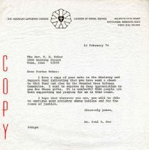 Image of Letter, Paul A. Boe to W. G. Weber, February 12, 1974, p. 1