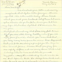 Image of Letter, Owen N. Slides to Margaret Louisa Irvine Riggs, May 10, 1943, p. 1