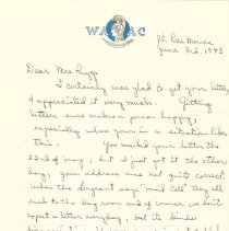 Image of Estella West to Margaret Louisa Irvine Riggs, June 3, 1943, p. 1