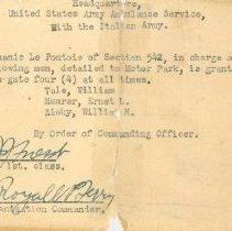 Image of WWI Ambulance Driver Pass