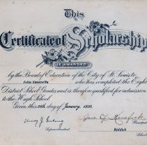 Image of Certificate of Scholarship - 2012.1.14