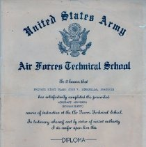 Image of United States Army Air Forces Technical School Diploma - 2012.1.16
