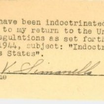 Image of Certification of Indoctrination