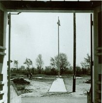 Image of Flagpole infront of the Crile Administation Building, May 29, 1944