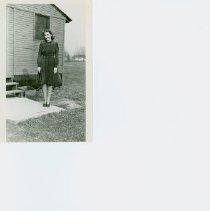 Image of Helen outside Engineers Barracks