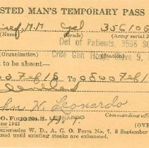 Image of Enlisted Man's Temporary Pass, Side 1
