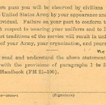 Image of Enlisted Man's Pass, Side 2