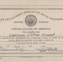 Image of Vincent's certificate of completion from the Naval Training School, 1943 - 2012.49.15