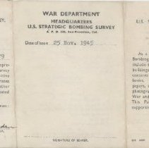 Image of Lawrence Vincent's U.S. Strategic Bombing Survey pass - 2012.49.16