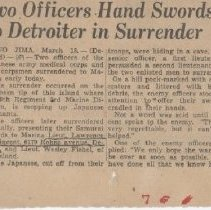 Image of Newspaper article detailing Vincent's involvement of two Japanese soilders - 2012.49.17