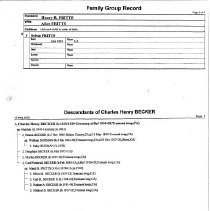 Image of Becker Family Group Sheet