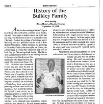 Image of History of the Bulkley Family