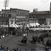 Image of K.1.1.012 - Glass-Plate Negative - Columbus Day - Umbrella Brigade. - Dayton, OH. 1892