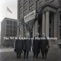 Image of NCR.1998.0465.015 - Glass Plate Negative -Senator Warren G. Harding and group in front of Building #10    January 1919