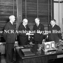 Image of NCR.1998.0498.012 - Com. & Misc. Around The Factory - F.B. Patterson Presenting Otto Nelson With A Gold Watch For 50 Years Of Service, Dayton, OH, October 7, 1935