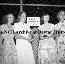 Image of NCR.1998.0604.1706 - Old River - Activities - Old River Dance - Four Women Waiting By The Fence, Dayton, OH July 17, 1948