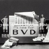 """Image of NCR.1998.0609.008 - Glass Negative - Window Displays - Copy - Toggery Window, It's time for B.V.D."""", June 17, 1913"""