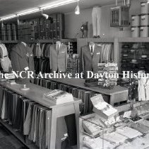 Image of NCR.1998.0820.076 - Safety Negative - Clothing Stores - Jack Fox Mens Shop - Mens Suits - Canton, OH - May 27, 1957