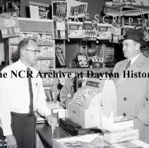 Image of NCR.1998.0827.049 - Film Negative - Drug Stores - Olson Drug - Cashier - Minot, ND - March 10, 1960