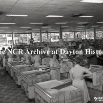 Image of NCR.1998.0828.085 - Film Negative - Grocery - Dorothy Lane Market, Checkout Lanes, Dayton, OH July 6, 1959