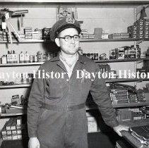 Image of NCR.1998.0834.125 - Film Negative- Service Stations - Boehm - Standard Service - Mechanic - Detroit, MI - March 5, 1956