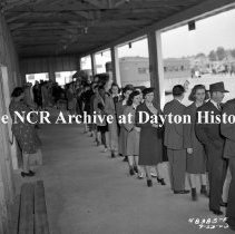 Image of NCR.1998.0914.278 - War Production - Emergency Committee - Photos Taken At Air Service Command Bus Station - People Waiting In Line, Dayton, OH September 23, 1943