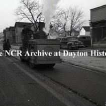 Image of NCR.1998.1124.136 - Safety Negative -  DDDC- Steam Roller on a Dayton, OH street - December 4, 1944