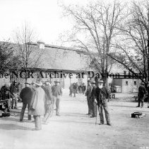 Image of NCR.1998.CD10.31 - Glass negative - Soldiers Home - Group of soldiers, Dayton, OH No Date Exterior