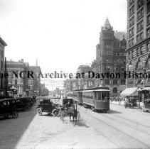 Image of NCR.1998.CD12.21 - Glass negative - Downtown Dayton, OH - Circa 1916 Callahan Building Court House Exterior