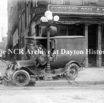 Image of NCR.1998.CD21.15 - Glass negative - Flood - Wrecked Dept. of Safety truck, Dayton, OH 1913